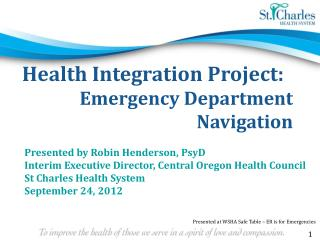 Health Integration Project:  Emergency Department Navigation