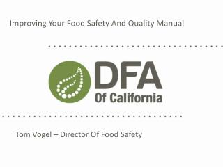 Improving Your Food Safety And Quality Manual