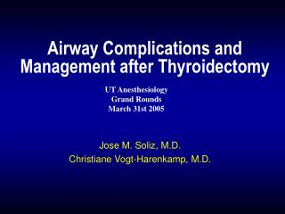 Airway Complications and Management after Thyroidectomy