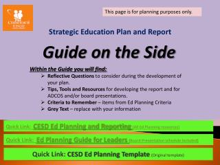 Strategic Education Plan and Report