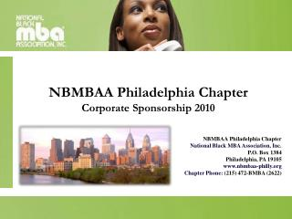 NBMBAA Philadelphia Chapter Corporate Sponsorship 2010