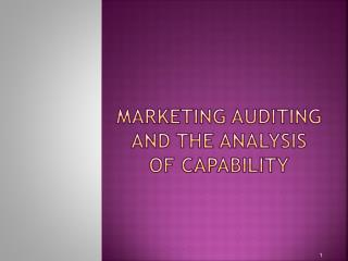 Marketing auditing and the analysis of capability