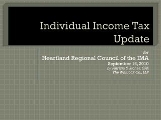 Individual Income Tax Update
