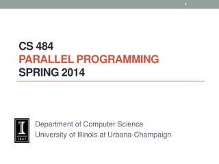 CS  484 Parallel  Programming spring  2014