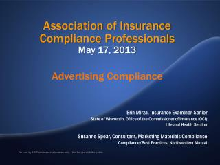 Association of Insurance Compliance Professionals May 17, 2013