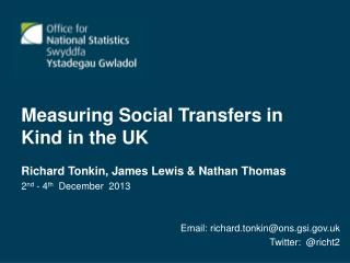 Measuring Social Transfers in Kind in the UK