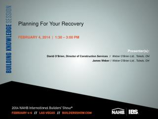 Planning For Your Recovery