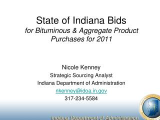 State of Indiana Bids for Bituminous & Aggregate Product Purchases for 2011