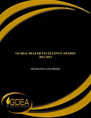 GLOBAL DEALER EXCELLENCE AWARDS 2012-2013