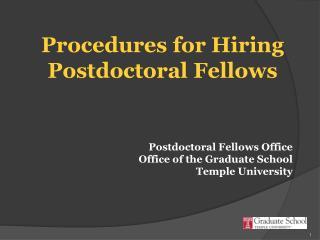 Procedures for Hiring Postdoctoral Fellows