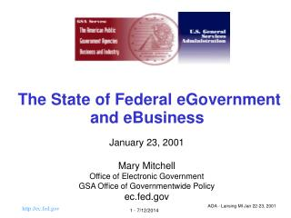 The State of Federal eGovernment  and eBusiness