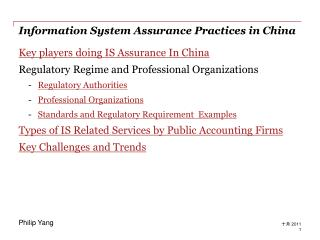 Information System Assurance Practices in China