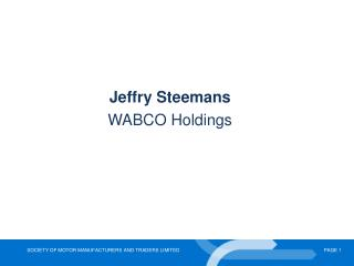 Jeffry Steemans  WABCO Holdings