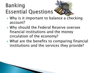 Banking Essential Questions