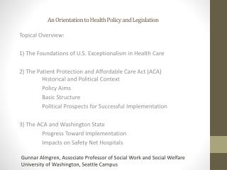 An Orientation to Health Policy and Legislation
