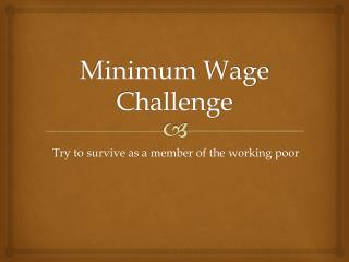 Minimum Wage Challenge
