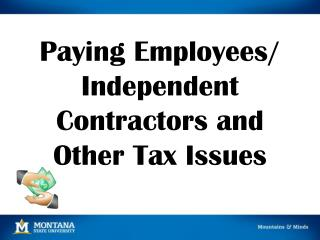 Paying Employees/ Independent Contractors and Other Tax Issues