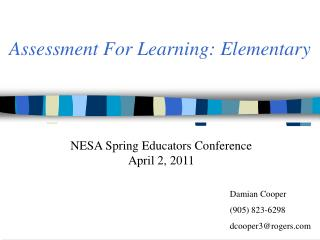 Assessment For Learning: Elementary