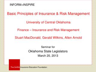 Seminar for Oklahoma State Legislators March 20, 2013