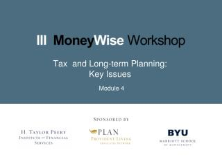 Tax  and Long-term Planning: Key Issues