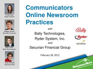 Communicators Online Newsroom  Practices