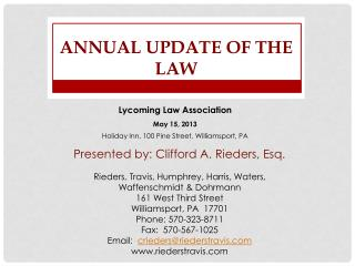 Annual Update of the Law