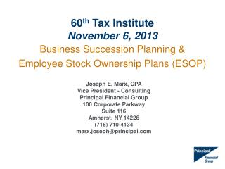 Business Succession Planning & Employee  Stock Ownership Plans ( ESOP)