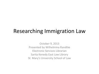 Researching Immigration Law