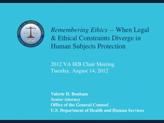 2012 VA IRB Chair Meeting Tuesday, August 14, 2012