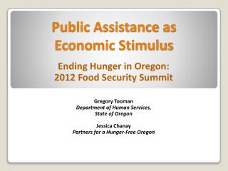 Public Assistance as  Economic Stimulus