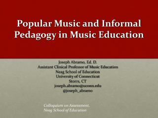 Popular Music and Informal Pedagogy in Music Education