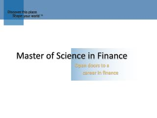 Master of Science in Finance