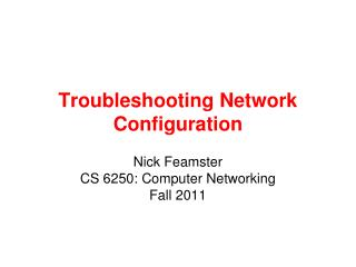 Troubleshooting  Network Configuration