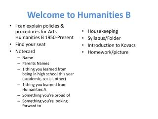 Welcome to Humanities B