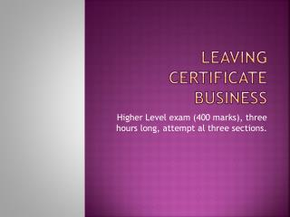 Leaving certificate business