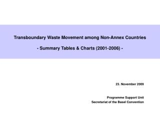 Transboundary Waste Movement among Non-Annex Countries -  Summary Tables & Charts (2001-2006) -