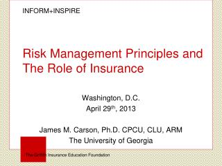 Risk Management Principles and The Role of Insurance