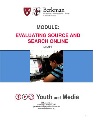 Module: Evaluating source and Search online Draft