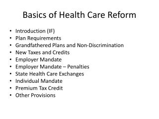 Basics of Health Care Reform