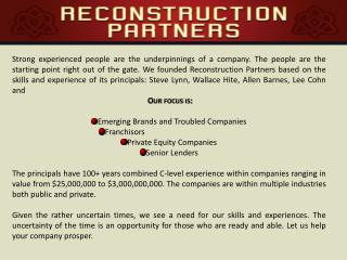 Reconstruction – Refranchising – Restructuring