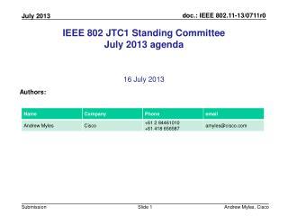 IEEE 802 JTC1 Standing Committee July 2013 agenda