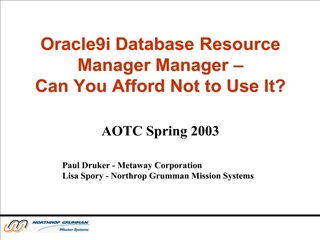 Oracle9i Database Resource Manager Manager    Can You Afford Not to Use It