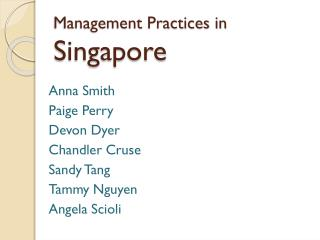 Management Practices in  Singapore