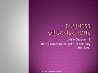 Business Organisations
