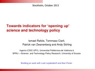 Towards indicators for 'opening up'  science and technology policy