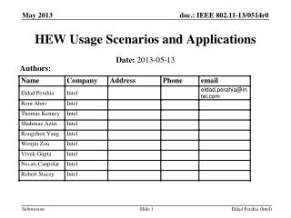 HEW Usage Scenarios and Applications