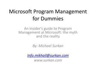Microsoft Program Management for Dummies