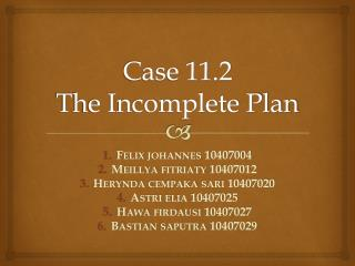 Case 11.2 The Incomplete Plan