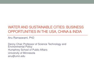 Water and Sustainable Cities: Business Opportunities in the USA, China & India