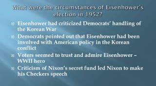What were the circumstances of Eisenhower's election in 1952?